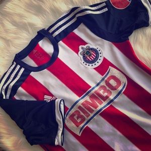 Vintage adidas red white and blue soccer jersey!